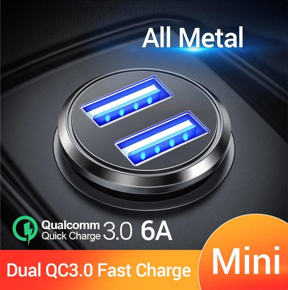 FIVI chargeur de voiture double QC 3.0 USB Charge rapide tout métal pour Samsung S8 S9 S10 Xiaomi Huawei Mini téléphone portable 36W 6A adaptateur