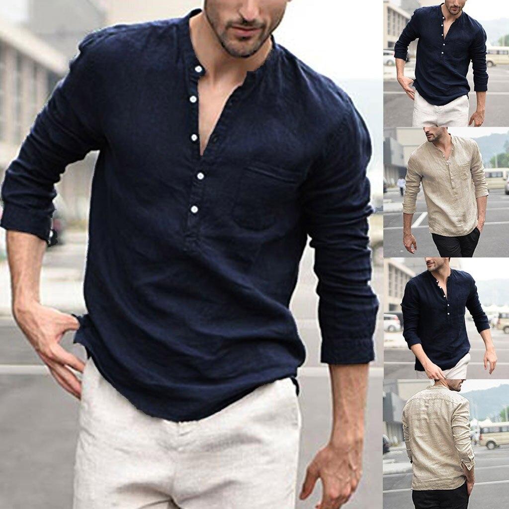 Рубашка Мужская с длинным рукавом, льняная сорочка на пуговицах, винтажная блуза в стиле ретро, топ из полиэстера, повседневная одежда в нат...