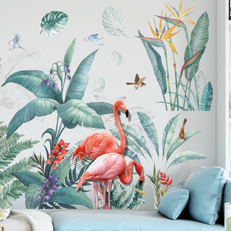 Large Flamingo Grass Wall Stickers For Living Room Bedroom Baseboard Removable DIY Wall Decals Art Home Decor