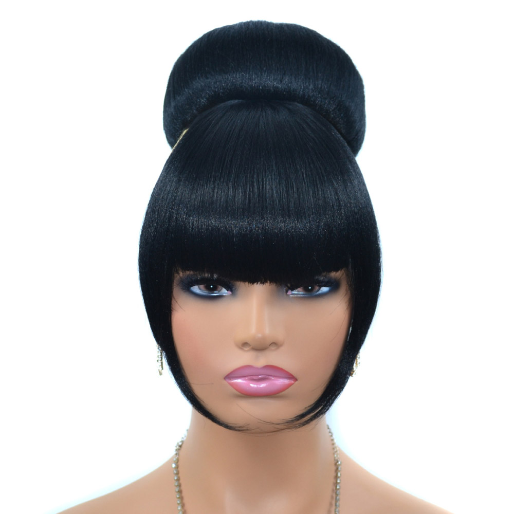 Jeedou Spherical Updos Hair Chignon With Bangs Clip In Hair Bun Pad Donut Rubber Band Hairpieces Synthetic Black Color