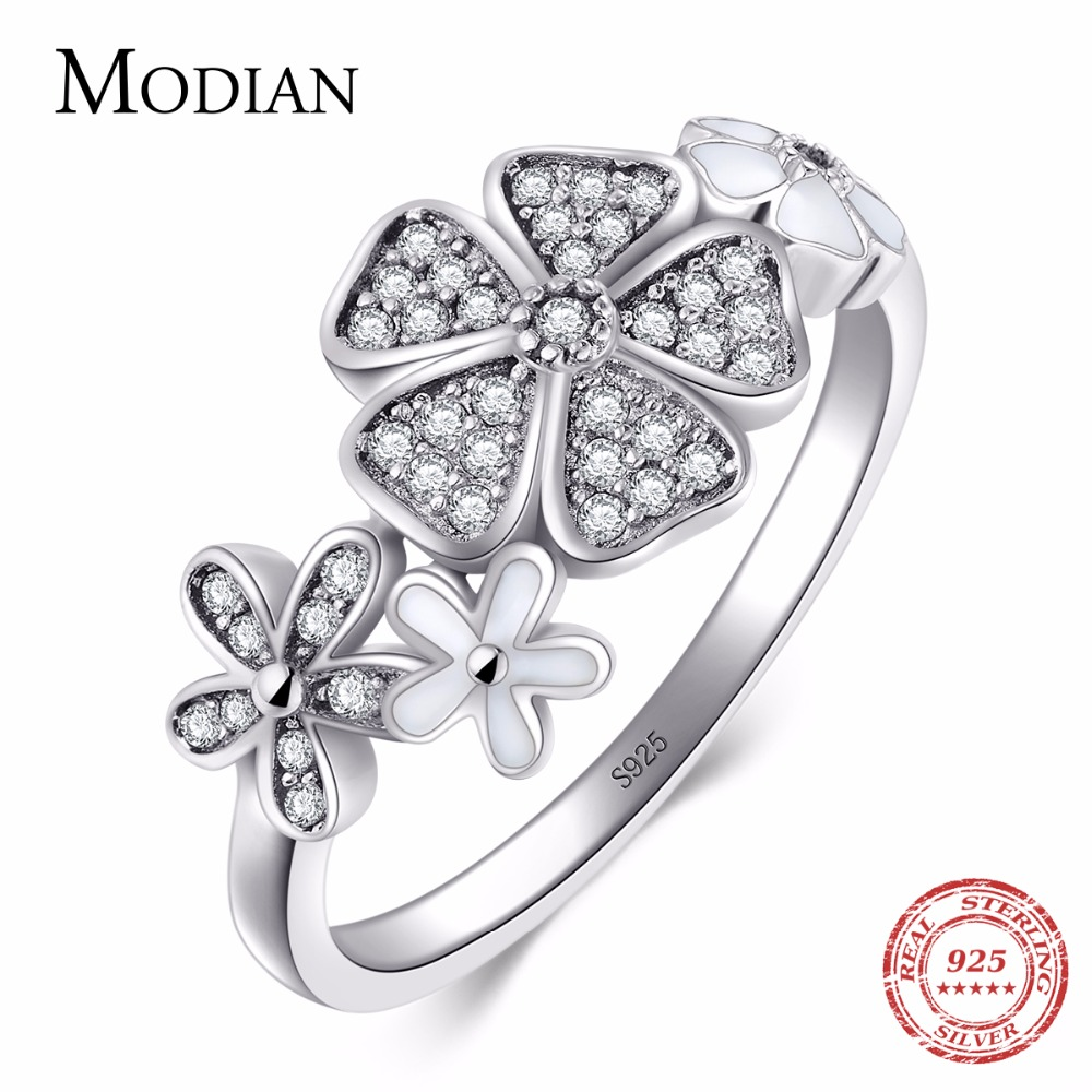 Modian Solid 925 Sterling Silver Flower Ring Mode Daisy Cherry Finger Silver Ringar Engagement Wedding Smycken för kvinnor