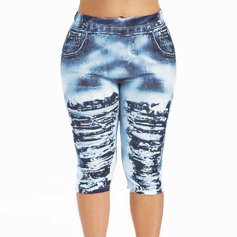 Kobiet w średnim wieku przycięte spodnie krótkie legginsy lato nowoczesne Lady kobiety spodnie spodnie drukowane przycięte spodnie