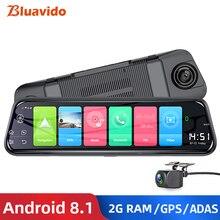 Bluavido 10 Cal 4G Android Rearview Mirror DVR 1080P kamera samochodowa nawigacja GPS ADAS noktowizor podwójny obiektyw samochodowy rejestrator wideo