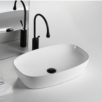 Ceramic Oval Sink Basin Above-Counter Wash Hand Basins Bathroom Accessory White Sink Basins Set Shampoo Sinks kemaidi new arrival bathroom faucet round paint golden bowl sinks vessel basins washbasin ceramic basin sink