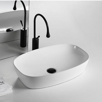 Ceramiczna umywalka z owalnym umywalką umywalki z umywalką akcesoria łazienkowe umywalki z białą umywalką zestaw zlewozmywaków z szamponem tanie i dobre opinie Nie hole Owalne Ociekaczem H202098 Blat umywalki Szampon umywalki Glazury natrysku WITHOUT TAP