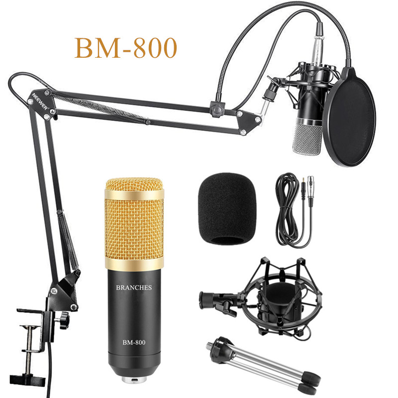 Professional Condenser Microphone BM800 Kit:Microphone For Computer+Shock Mount+Foam Cap+Cable As BM 800 Microphone BM 800