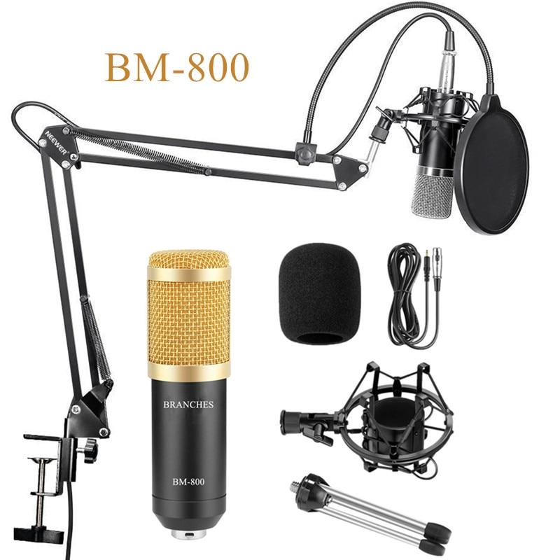Профессиональный конденсер, микрофон, BM800 комплект: микрофон для компьютера + подвесом + пена Кепки + кабель как BM 800 микрофон BM-800