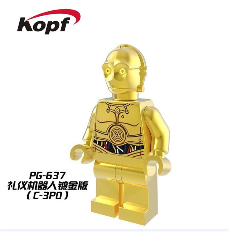 PG637 Super Heroes C3PO Chromed Golden Luke Skywalker Brick Silver Surfer Bricks Building Blocks Collection Kids Gift Toys