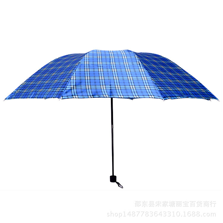 Manufacturers Wholesale New Style Extra-large 10 Bone 75 Three Fold Satin Plaid Customizable Folding Umbrella