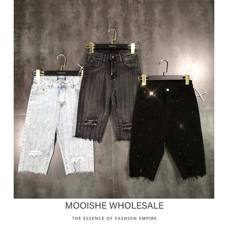 Mooishe Spring Women Short Jeans Stripes Diamond Rippes Black Gray White Denim Shorts