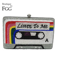 Boutique De FGG Listen2ME Cassette Tape Clutch Women Crystal Evening Bags Wedding Party Diamond Box Minaudiere Handbag and Purse