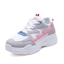 купить Women Mesh Breathable Chunky Sneakers Lace-up Platform Wedge Sneakers Casual Leisure Walking Shoes дешево
