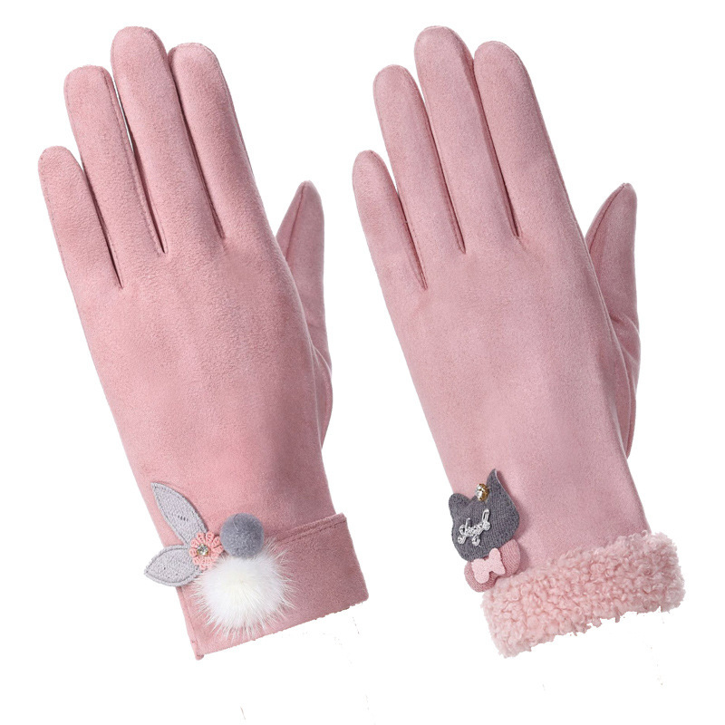 Winter Windproof Double-layer Furry Gloves Touch Screen Suede Leather Cat Snowflake Embroidery Outdoor Warm Gloves Fashionable