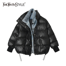 Parkas Cotton Coat Female Women Denim Fake Fashion Casual Patchwork Embroidery TWOTWINSTYLE