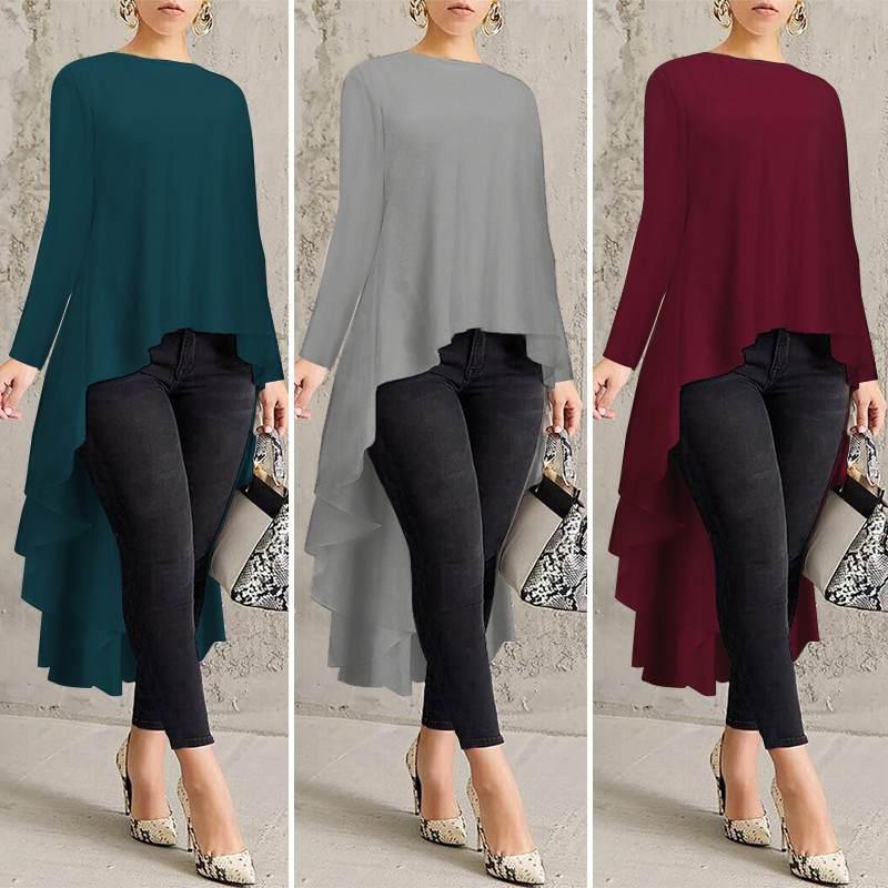 ZANZEA Fashion Spring Women Asymmetrical Blouse Casual Long Sleeve High Low Shirt Tunic Tops Plus Size Female Solid Long Shirt