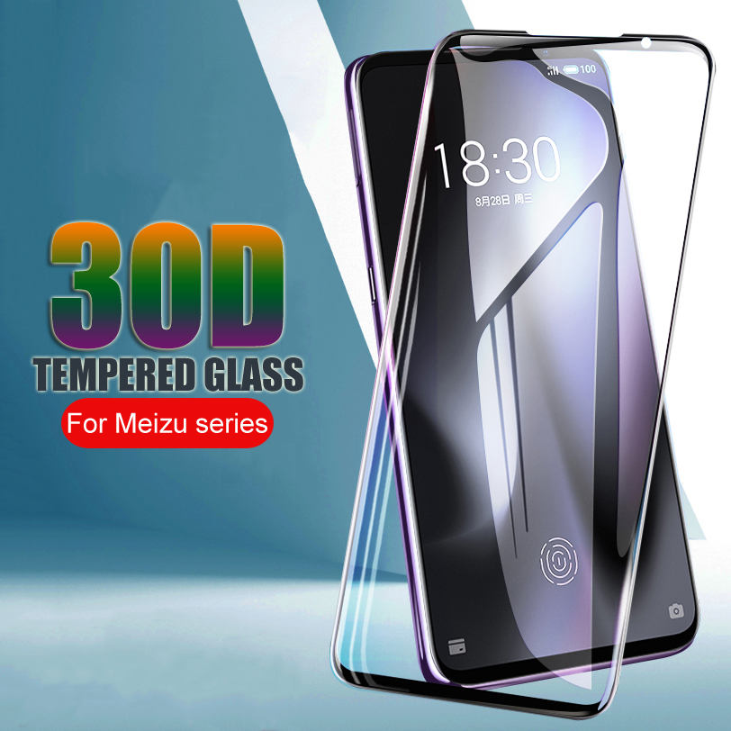30D Full Cover Protective Glass For <font><b>Meizu</b></font> <font><b>16</b></font> 16S 16X 16XS 16th Note 8 9 X8 M8 Lite Note V8 <font><b>Pro</b></font> Tempered Glass Screen Protector image