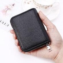Coin-Purse Pocket Business-Card-Holder Zipper PURDORED Genuine-Leather Women Unisex 1-Pc