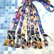 Toptan 20 adet/grup Anime iblis avcısı cep telefon kayışı ile kolye karikatür anahtar zincirleri boyun kordon kimlik kartı tutucu