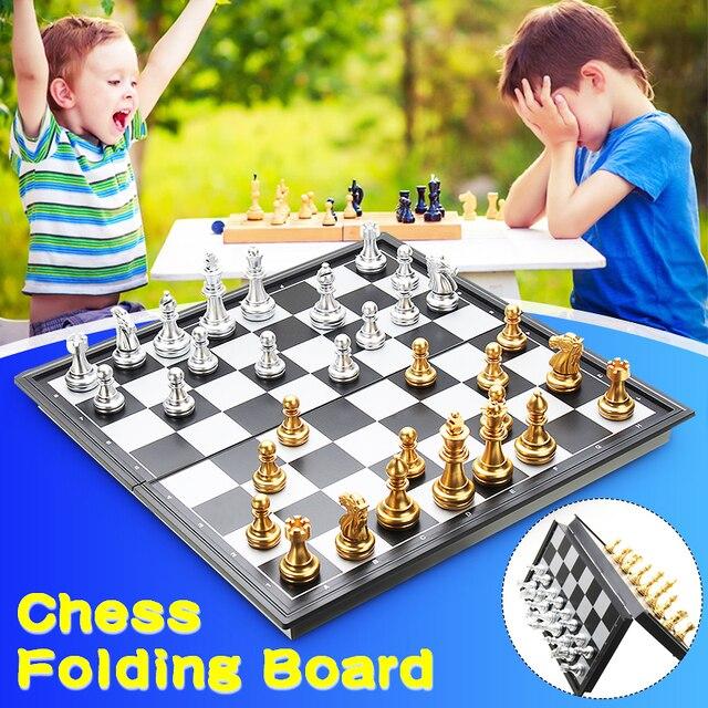 Jeu d'échecs de voyage magnétique or/argent pliant de 25x25cm pour des enfants ou des adultes 1