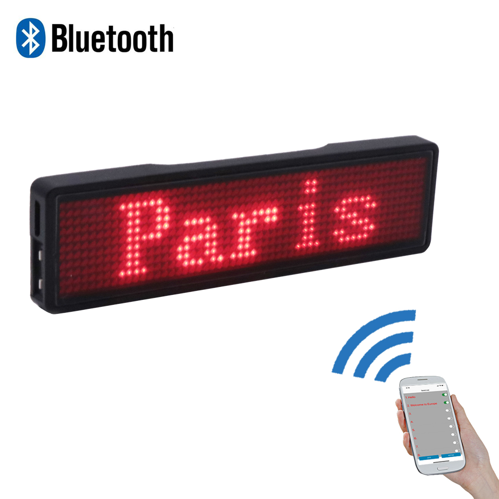Bluetooth LED Name Tag 7 Colors Mini Model Bus LED Sign Mini Car LED Display Sign Backpack LED Display Sign Dog Pet Name Tag