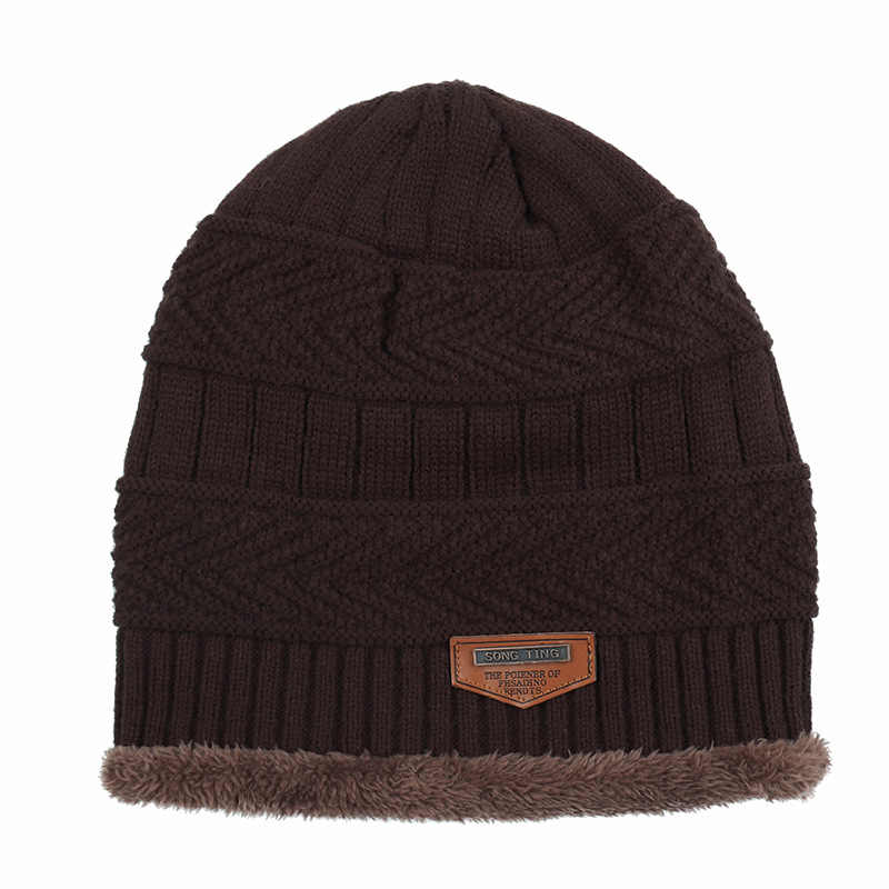 Groothandel Skullies Fashion Etikettering Wollen Muts Herfst Winter Plus Fluwelen Warm Mannen Muts Vrouwen Outdoor Hooded Wilde Curling Hoed