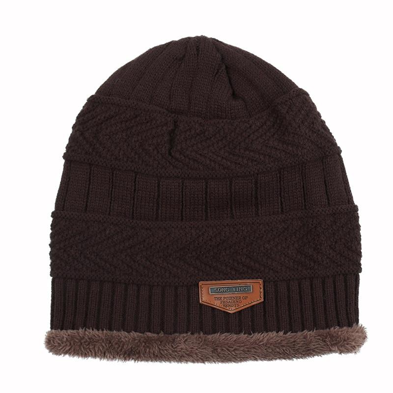 Wholesale Skullies Fashion Labeling Wool Hat Autumn  Winter Plus Velvet Warm Men Knit Hat  Women Outdoor Hooded Wild Curling Hat