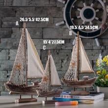 Retro Mediterranean Sailing Ship Model Creative Wood Crafts Travel Souvenirs Home Desktop Decorations Figurines Ornament Gifts la salamandre 1752 model ship wood
