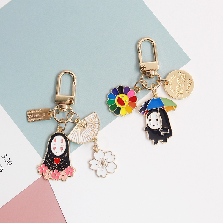 Cartoon Japan Anime Spirited Away Gold Color Keychain For Women Key Chains Ring Car Bag Pendent Charm Airpods Accessories D375