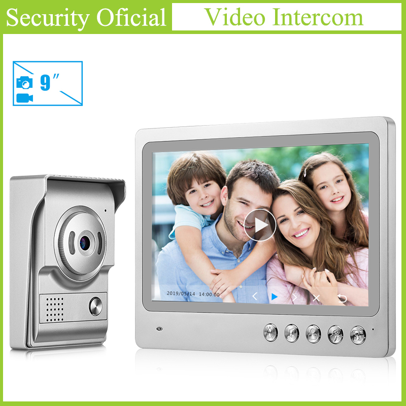 9 Inches TFT LCD Color Touch Screen Home Security Video Door Phone Intercom System Wired Night Vision Door Camera Video Doorbell