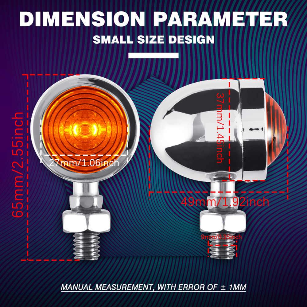 Ampoules indicateur clignotant | Mini clignotant de moto 4x, ampoules avant/arrière, ambre/jaune, adapté pour Chopper Bobber Cafe Racer moto
