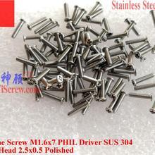 Нержавеющая сталь винт m1.6x7 головки вафли A2-70 100 шт