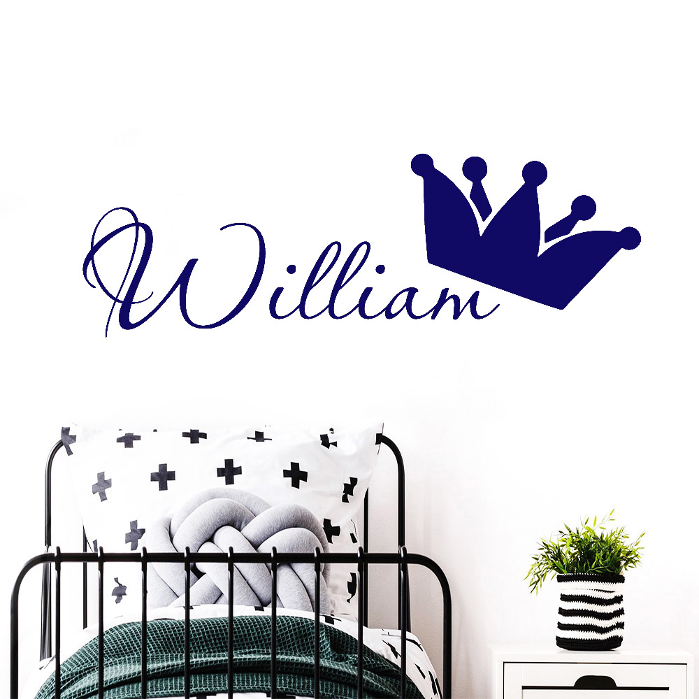 Custom Kids Name Wall Stickers For Child Room Personalized Boys Name King Crown Decor Nursery DIY Storage Box Art Decals Y456
