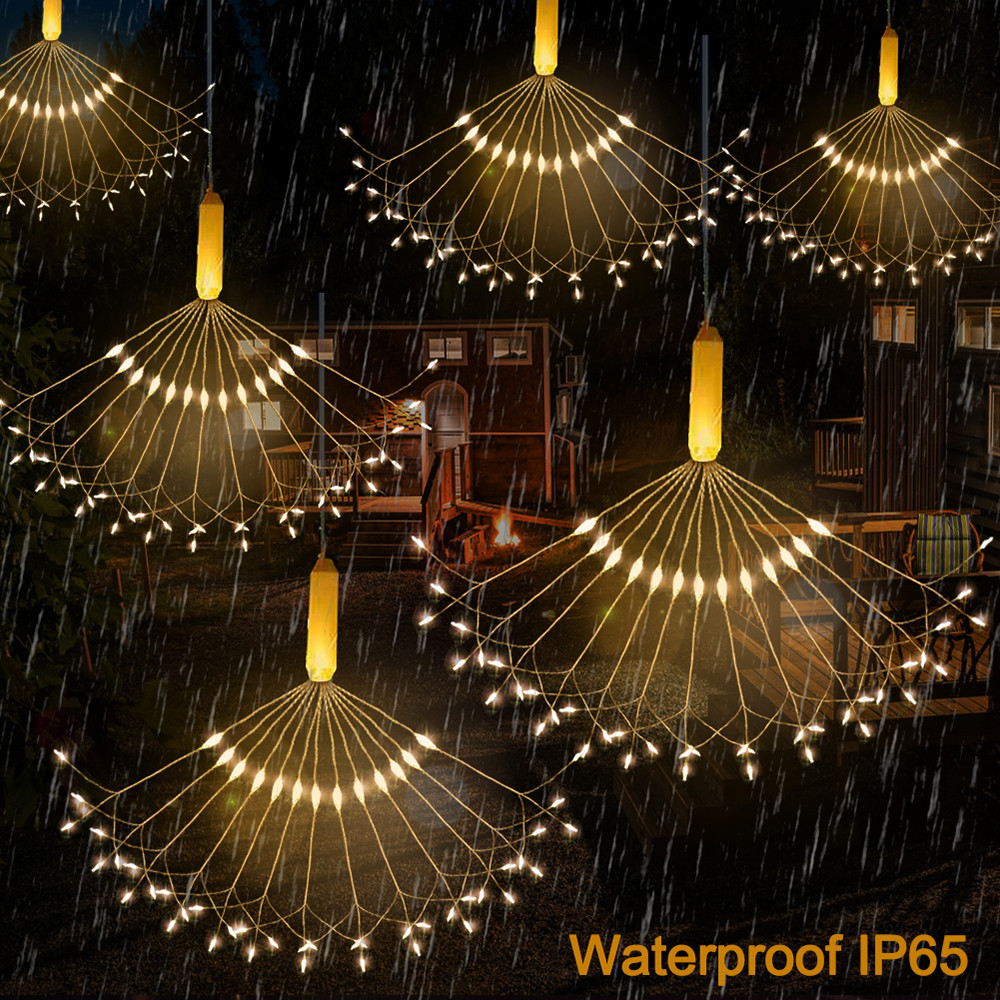DIY 120LEDs Firework Explosion Star Christmas Fairy Light With Remote 8 Modes Hanging Starburst LED String IP65 Waterproof