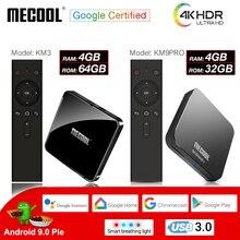 MECOOL Amlogic S905X2 KM3 KM9PRO Android 9,0 Smart tv Box 4G DDR4 32G/64G 4K HDR Google Сертифицированный медиаплеер Голосовое управление