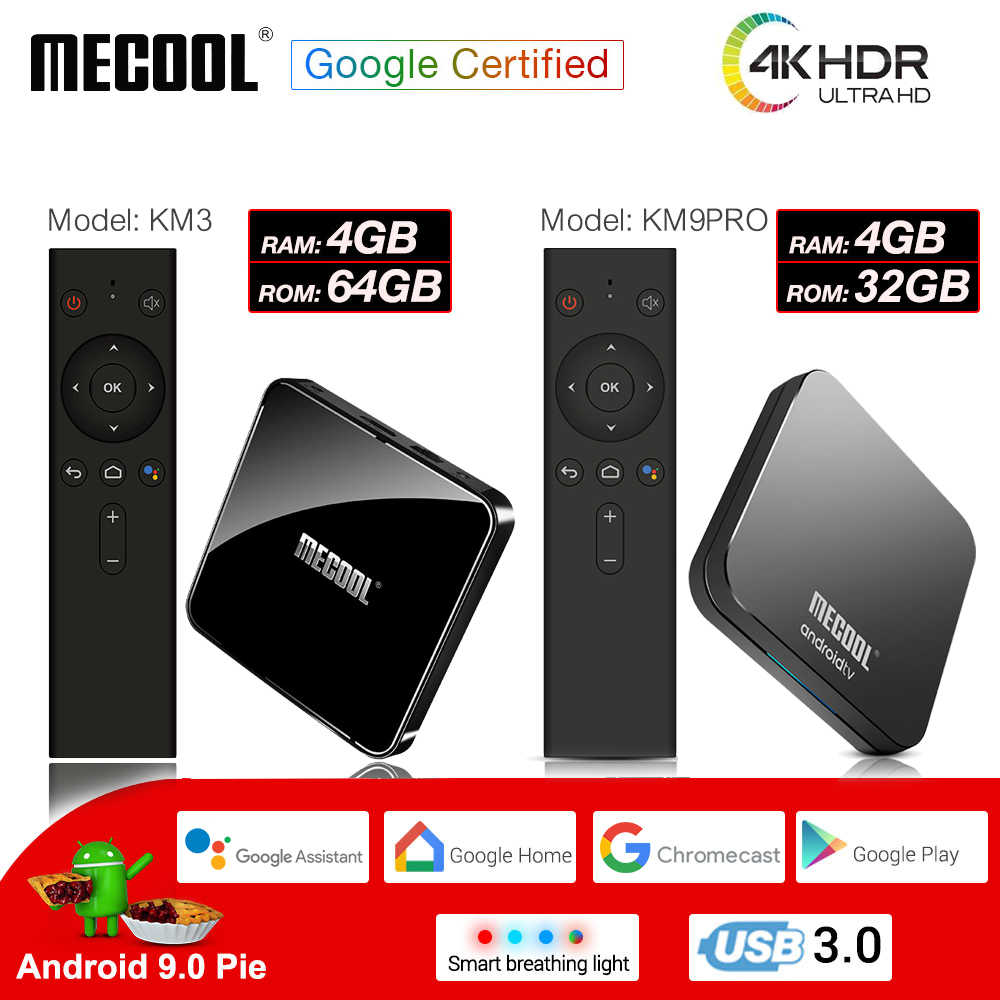 MECOOL Amlogic S905X2 KM3 KM9PRO Android 9.0 Smart TV Box 4G DDR4 32G/64G 4K HDR Google certifié lecteur multimédia commande vocale