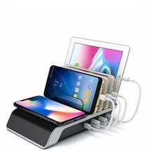 شاحن لاسلكي آيفون سامسونج منافذ USB شحن سريع محطة حوض لأجهزة متعددة المحمولة حامل الهاتف الذكي حامل