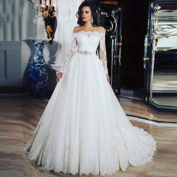 puffy white vestido de noiva Boat Neck Long Sleeve A Line Appliques Lace bridal Gown 2021 Off Shoulder Bespoke Wedding Dresses 원피스 a line short vestido de noiva curto robe de mariage long sleeve lace cheap casamento bridal gown bespoke wedding dresses