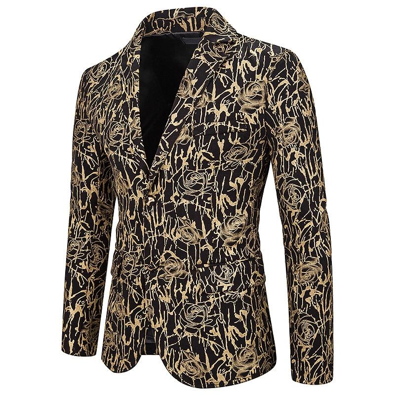 Luxury Gold Rose Floral Bronzing Print Blazer Men 2019 Brand Slim Fit Mens Blazer Jacket Nightclub Stage Singers Blazers Hombre