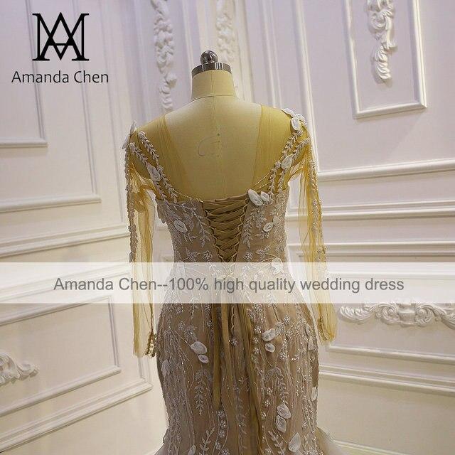 Top Quality Long Sleeves Flowers Champagne Mermaid Wedding Dress 6
