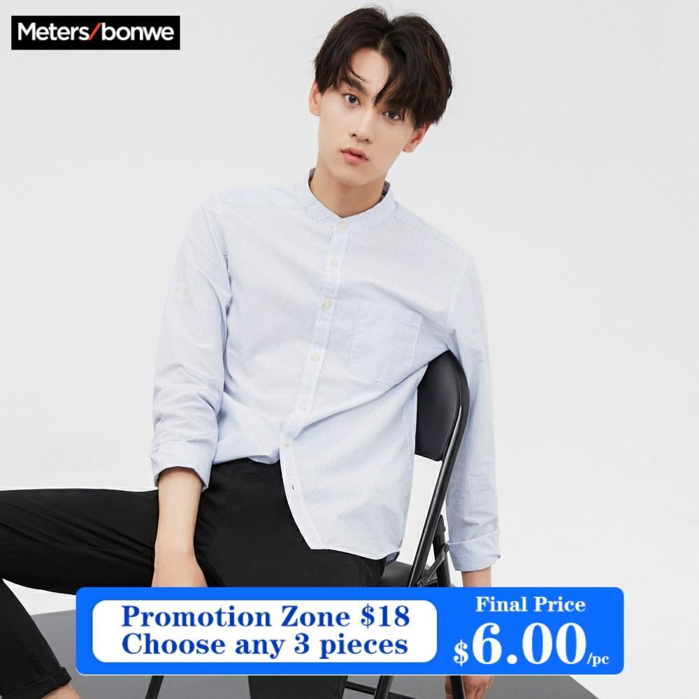 Metersbonwe Brand Men New Casual Shirts Spring Autumn Male Slim Long Sleeve shirts regular Cotton Male Teenager tops