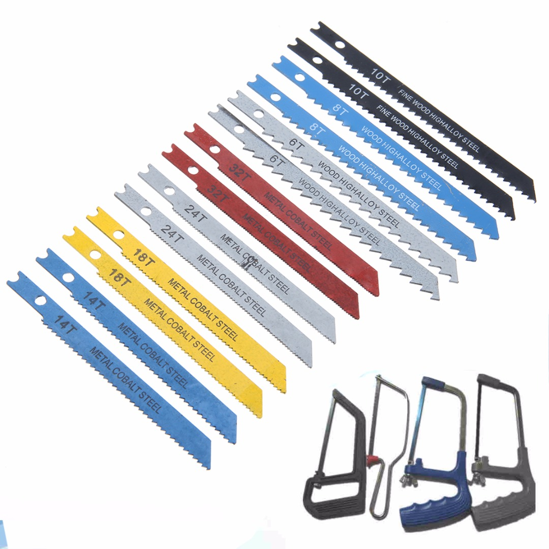 14Pcs/set Assorted U-shank Jigsaw Blade Set Practical Jigsaw Blades For Plastic Aluminium Cutting