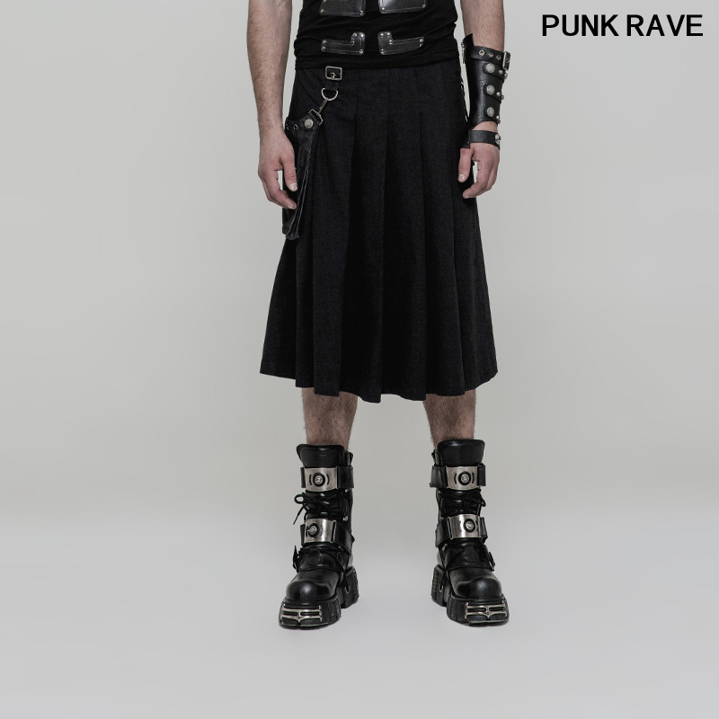 Fashion Stereo Bag Removable Party Club Stage Pleated Skirt pants PUNK Rock Handsome Men Half Skirt shorts PUNK RAVE WQ-362BQM