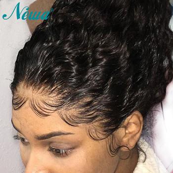 Newa 13 #215 6 koronki przodu włosów ludzkich peruki z dziecięcymi włosami kręcone wstępnie oskubane koronki przodu peruki dla czarnych kobiet Brailian Remy koronkowe peruki tanie i dobre opinie Newa Hair long 360 Koronki Przednie Peruki CN (pochodzenie) Remy włosy Ludzki włos Pół maszyny wykonane i pół ręcznie wiązanej
