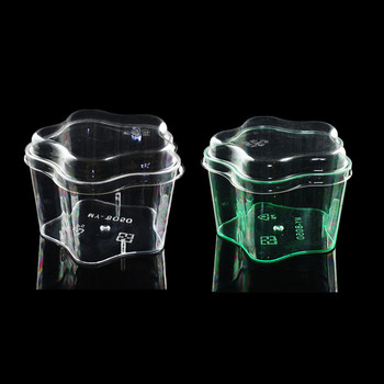 50pcs High quality green/transparent flowers ice cream cup 185ml birthday wedding party dessert decoration plastic cup with lid
