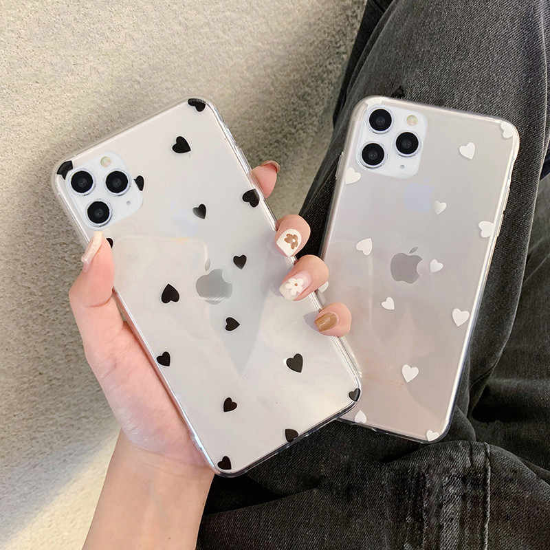 Moskado CLEAR Love Heart WAVE Point สำหรับ iPhone 11 11 PRO MAX 6 6 S 7 8 PLUS X XS XR XS MAX 5 5 S SE Soft TPU ปกหลัง
