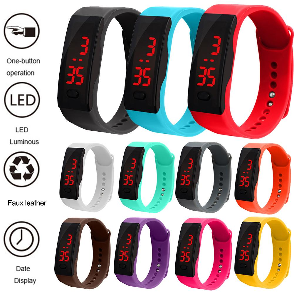 Kids Silicone Strap LED Display Electronic Digital Sports Bracelet Wrist Watch