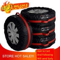 1 pc 4 pces carro auto pneu de reposição roda proteção cobre preto e vermelho sacos de armazenamento transportar tote capa veículo protetor roda
