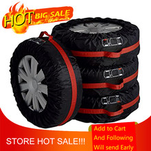 4pcs Car Auto Spare Tire Wheel Protection Covers Black and Red Storage Bags Carry Tote Cover Vehicle Wheel Protector(China)
