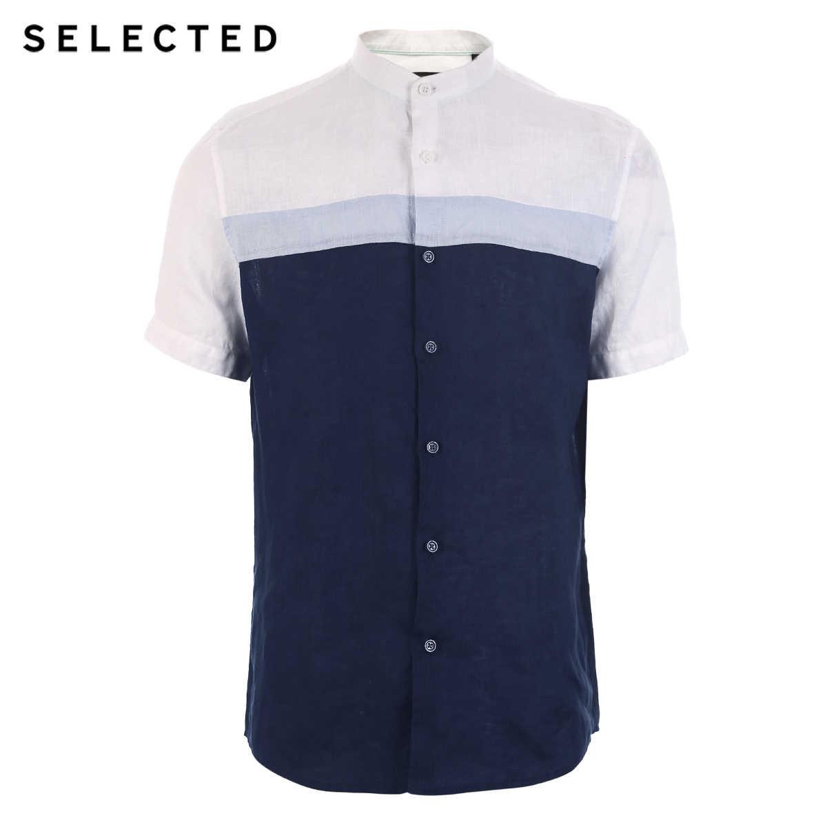 Мужская льняная Повседневная деловая рубашка с короткими рукавами, разные цвета, 419204520
