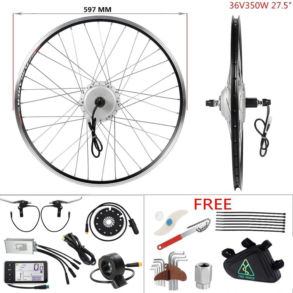 Silnik elektryczny do zestaw do konwersji roweru elektrycznego e-bike 27.5 ''kaseta tylna piasta koło silnikowe 36V 350W zestaw do silnika do rowerów